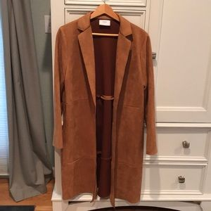 Zara ultra suede brown lightweight coat